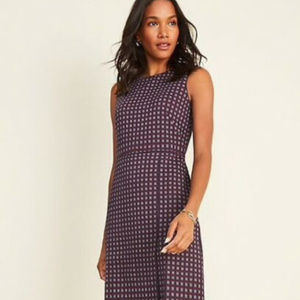 Ann Taylor Checked Overlap A-Line Dress